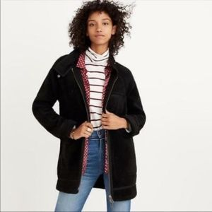 MADEWELL Sherpa City Grid Cocoon Coat Black S